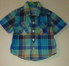 Genuine Kids OshKosh B' Gosh Baby Boy 12 Mos Short Sleeve Multicolor Plaid Shirt #GenuineKids #DressyEverydayHoliday