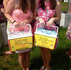 I love the idea of sorority coolers for big/little. Maybe put reveal crafties inside?