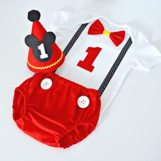 Mickey Mouse 1st Birthday / Cake Smash Outfit - Red, Yellow & Black - Party Hat, Bodysuit, Bow Tie, Nappy Cover - Made to Order by LittleMissCharlie on Etsy https://www.etsy.com/listing/227889368/mickey-mouse-1st-birthday-cake-smash