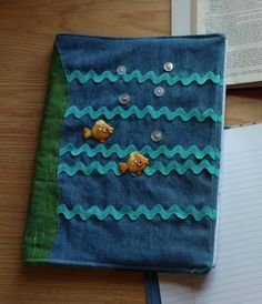 Fish Cover Denim Journal, Composition, Notebook Cover, Jacket, Reusable, Bible Cover by DenimDelightsByLinda on Etsy
