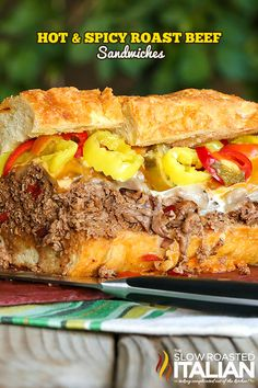 Hot and Spicy Roast Beef Sandwiches from theslowroasteditalian.com #beef #sandwich #recipe