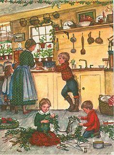 Webster Kitchen in the Christmas season card, by Tasha Tudor Christmas Scenes, Noel Christmas, Vintage Christmas Cards, Christmas Pictures, Vintage Cards, Christmas Kitchen, Xmas, Christmas Decor, Christmas Illustration