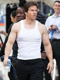 Mark Wahlberg shows off his super-toned physique on Monday while filming a scene for his upcoming movie Ted 2 outside of Boston.