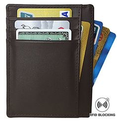RFID Blocking Leather Slim Wallet, Men's Genuine Leather RFID Blocking Minima... *** To view further, visit