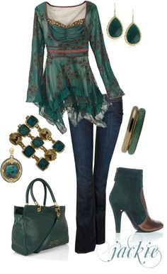 """""""Jeans with Teal"""" by jackie22 on Polyvore"""