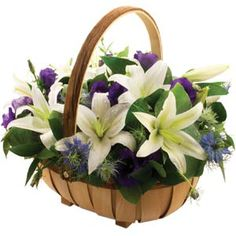 Sympathy flowers are gifts that people attending the funeral would bring. Something like this basket may be taken home by the relatives after the funeral. Funeral Flowers Uk, Funeral Bouquet, Church Flowers, Funeral Flower Arrangements, Floral Arrangements, Elegant Flowers, Beautiful Flowers, Funeral Gifts, Buy Flowers Online
