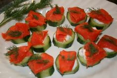 "smoked salmon and cucumber canapes with dill from my aunt's blog ""My Plate 2 Yours""! #glutenfree #wheatfree"
