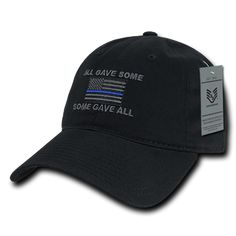 Thin Blue Line Flag Relaxed Graphic Cap All Gave Some -Some Gave All Black f056d9970297