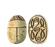 Ancient Egyptian limestone scarab. The Egyptian word for beetle was 'Kheper' which meant to exist. Scarabs were worn to assure continued existence,both in this world and the next. 18th dynasty (1570-1342BC)