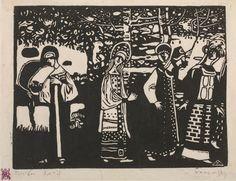 Vasily Kandinsky, Mulheres no bosque ( Frauen im Wald ), 1907.  Xilogravura em papel japonês - Solomon R. Guggenheim Museum, New York   Solomon R. Guggenheim foi um defensor firme de Kandinsky, e hoje o Guggenheim detém mais de 150 de suas obras de arte. Esta coleção vasta e variada é destacada em uma base permanente na Galeria do museu dedicada a Kandinsky .