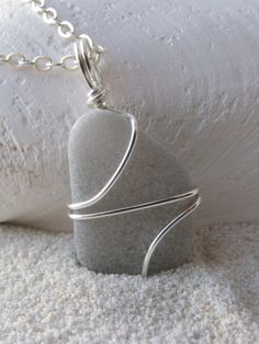 what kind of wire is this , I love to give it a try.....  Gray Sea Glass Necklace Grey Sea Glass Jewelry by BostonSeaglass, $18.00