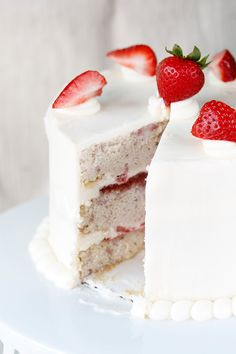 strawberry cake with whipped cream and cream cheese frosting