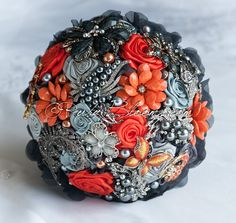 Ruby Blooms is pleased to offer you the highest quality fall wedding brooch bouquet Design for Silver Orange and Grey Wedding Bridal Flowers and