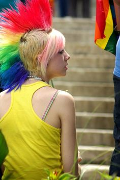 Rainbow Mohawk I think this is really cool but I would NEVER EVER get it lol maybe when I'm old haha