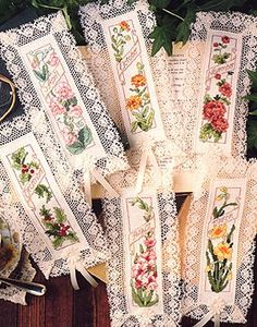 """Flower of the Month Cross Stitch Bookmark ePattern - Number of Designs: 12Stitch Count: Each 25w x 104hApproximate Design Size: 1 1/2"""" x5 7/8"""" each, on 18 count fabricDesigner: Jorja Hernandez of Kooler Design StudioOriginal Publication: Leisure Arts Leaflet 2374,Birthday Bookmarks†Description: When your favorite book-lover has a birthday or other special occasion, present her with one of these beautiful bookmarks stitched with the flower of her birth month. These were cross stitched on…"""