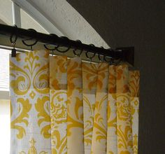 """Pair of Yellow and White Damask Traditions Curtain Panels 50"""" x 63 84 96 108 120 Choose your length by SewPanache on Etsy https://www.etsy.com/listing/90445055/pair-of-yellow-and-white-damask"""