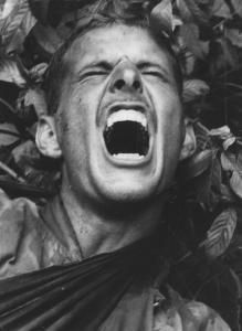VIETNAM WAR A wounded marine shrieks in pain, 11/12/1966 (UPI Photo).