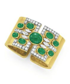 AN EMERALD, DIAMOND AND GOLD CUFF BRACELET, BY DAVID WEBB  The hinged 18k gold cuff set at the top with oval cabochon emeralds, enhanced by circular-cut diamond detail, mounted in 18k gold and platinum, 2 1/8 ins. diameter, 1½ ins. width Signed Webb for David Webb