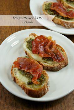 Prosciutto and Pesto Crostini