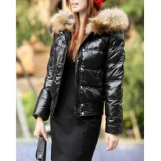 New Arrivel Hooded Solid Color Pocket With Zipper Thick Shorts Women's Down Coat, BLACK