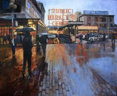 Market Lights Seattle Cityscape by Robin Weiss, painting by artist Robin Weiss