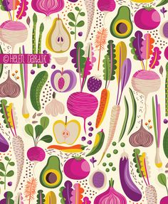 Would love to have a wall in my kitchen decorated in this .........by Helen Dardik
