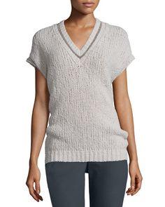 W0A2V Brunello Cucinelli Dolman-Sleeve Knit Pullover Sweater, Light Gray