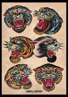 tiger panter traditional tattoo