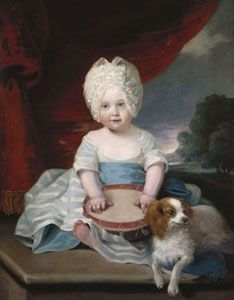 1785   Princess Amelia of the United Kingdom.  By John Hoppner.   Amelia was the final child of George III and Queen Charlotte and born on 7th August 1783 at the Royal Lodge in grounds of Windsor Castle. Christened on 17th September at St. James' Palace with her brother, George, Prince of Wales, and her sisters, Charlotte, Princess Royal and Princess Augusta Sophia as godparents. Amelia was her father's favourite child.    royalcollection.org.uk