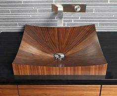 A new wooden sink in your bathroom can spice up the decoration or just serve its functional purpose. Wood Bathtub, Wood Sink, Wooden Bathroom, Bathroom Furniture, Wood Furniture, Into The Woods, Wood Veneer, Bathroom Inspiration, Bathroom Ideas