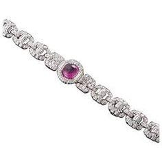 Art Deco Cabochon Tourmaline Diamond Platinum Bracelet