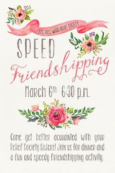 Speed Friendshipping Party}Relief Society Activity - your ...
