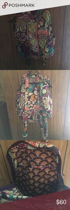 Vera Bradley Backpack Front flap, back zipper, and storage in the inside. Rarely used, perfect condition. All offers strongly considered, no trade Vera Bradley Bags Backpacks