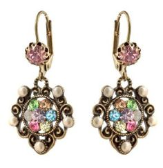 Michal Negrin Lovely Earrings with Flowers Vintage Elements White Pink and Multicolor Swarovski Crystals - Victorian Style Very Feminne