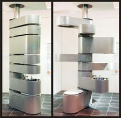 The Vertebrae - weirdest bathroom contraption ever. Top two parts are a shower, then cistern, storage, basin/sink, and finally a toilet on the bottom.