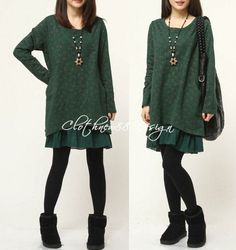 Two layed Loose Fittng Cotton and linen Maxi Dress Long Blouse Shirt Top - Autumn Dress in green blue (281)