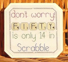 50th Scrabble Birthday Card, Cross Stitch Kit 14 Count No. 081