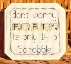 50th Scrabble Birthday Card, Cross Stitch Kit 14 Count No. 081
