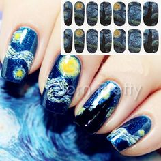 $2.95 1 Sheet Nail Wraps Mysterious Starry Sky Night Patterned Full Nail Sticker - BornPrettyStore.com. Use my 10% code ANGELIQUEC10