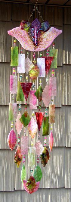 El Arte De cristal de Kirk - Vitrofusión - Llamador de Viento -windchimes Sound #Windchimes #Windspiele #Carillón de Viento.