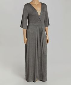 This Gray Surplice Maxi Dress - Plus is perfect! #zulilyfinds