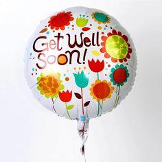 Cute Get Well Soon Messages   Modern Floral 'Get Well Soon' Helium Balloon