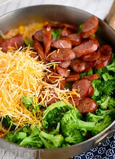 Cheesy Kielbasa, Rice and Broccoli Skillet - your new favorite dinner! This easy skillet recipe comes together in a flash and… in 2020 Broccoli Recipes, Pork Recipes, Cooking Recipes, Healthy Recipes, Delicious Recipes, Cooking Gadgets, Healthy Options, Pizza Recipes, Cooking Ideas
