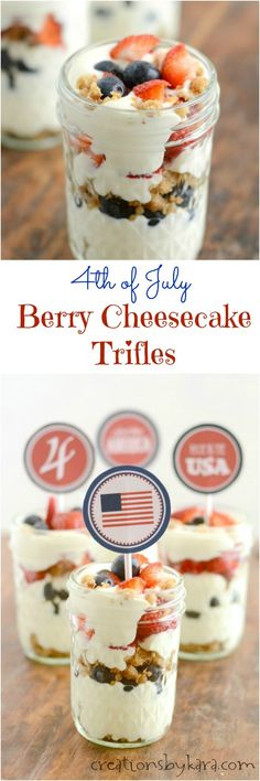 Mini Berry Cheesecake Trifles for the 4th of July - an easy and easy to carry around dessert!