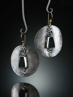 Black Druzy Quartz Earrings. Fabricated Sterling Silver and 14k. www.amybuettner.com https://www.facebook.com/pages/Metalsmiths-Amy-Buettner-Tucker-Glasow/101876779907812?ref=hl https://www.etsy.com/people/amybuettner http://instagram.com/amybuettnertuckerglasow