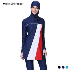 Make Difference Modest Islamic Swimwear Full Cover Islamic Hijab Swimwears Swimsuits Plus Size Burkinis for Muslim Girls Women AidilAdha -- AliExpress Affiliate's Pin.  Locate the AliExpress offer simply by clicking the VISIT button