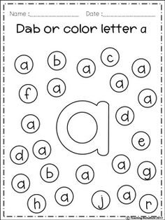 Alphabet For Toddlers, Lesson Plans For Toddlers, Learning The Alphabet, Preschool Learning, Abc Worksheets, Printable Preschool Worksheets, Free Alphabet Printables, Dot Letters, Do A Dot