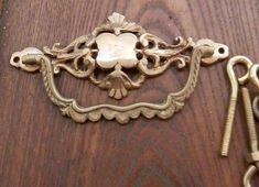 pair 2 vintage cast brass drawer pulls 3 inch centers