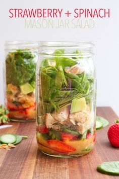 Strawberry Spinach Mason Jar Salad with Citrus Poppyseed Dressing