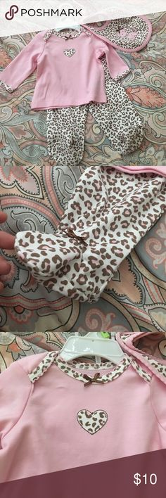 Baby girl leopard outfit Never used! Footie pants, top, and bib. Little Me Matching Sets